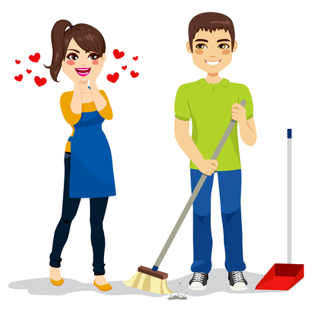 husband and wife: Happy surprised woman loves boyfriend cleaning floor with sweeper