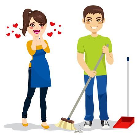 gospodarstwo domowe: Szczęśliwa zdziwiona kobieta kocha chłopaka z czyszczenia podłogi zamiatarka
