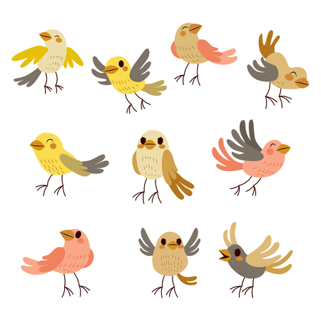 bird wing: Cute collection set of nine funny birds in soft autumn theme pastel colors