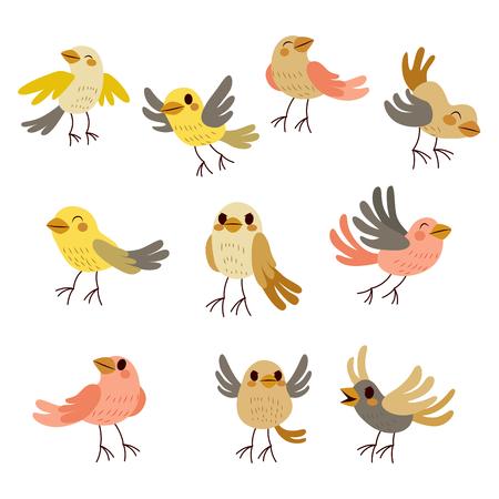 oiseau dessin: Jeu de collection mignonne de neuf drôles d'oiseaux en automne couleurs douces thème pastel