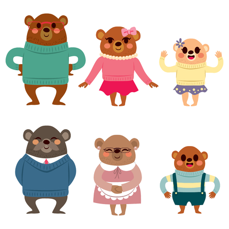 Happy six member bear family characters in warm clothing happy smiling Stock Illustratie