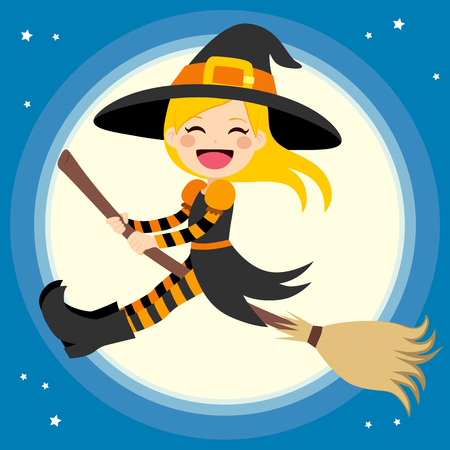 Cute little blonde girl witch flying in front of the full moon with magical broom
