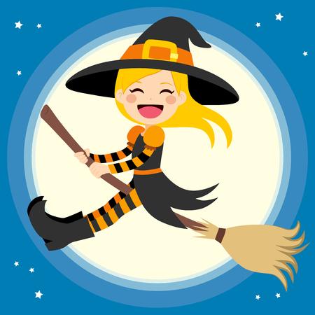 Pequeña bruja rubia linda volando delante de la luna llena con la escoba mágica
