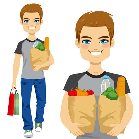Felice giovane uomo che trasportano generi alimentari sacchetto di carta pieno di ortaggi sani e altri alimenti e bevande Vettoriali