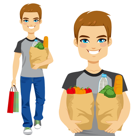man drinking water: Happy young man carrying grocery paper bag full of healthy vegetables and other food and drinks Illustration
