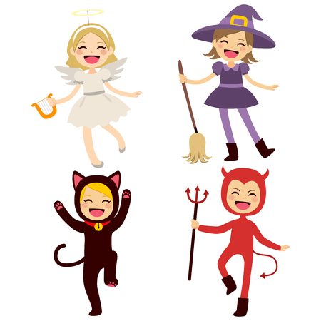 angel and devil: Cute group of little cheerful children with different Halloween costumes Illustration