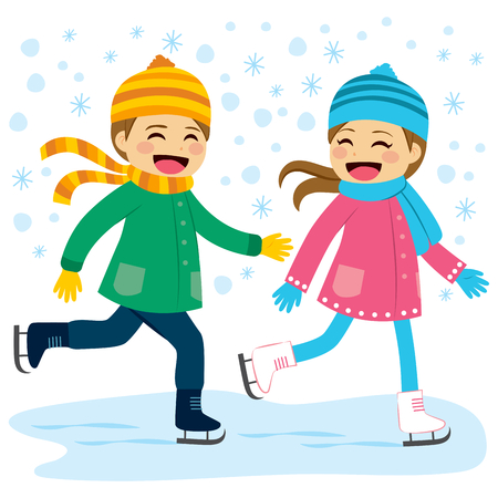 Cute boy and girl wearing warm winter clothes ice skating together on frozen lake