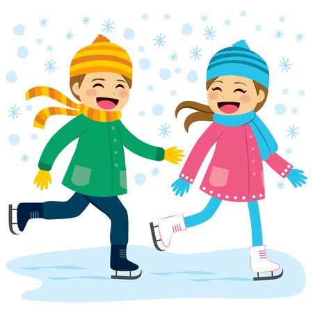 Leuke jongen en meisje dragen van warme winter kleren schaatsen samen op bevroren meer