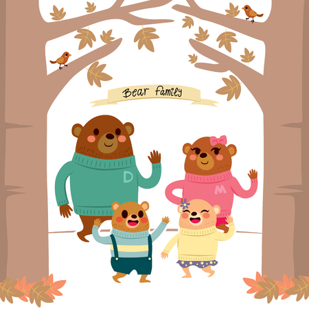warm clothes: Cute happy bear family characters with warm clothes together on autumn forest