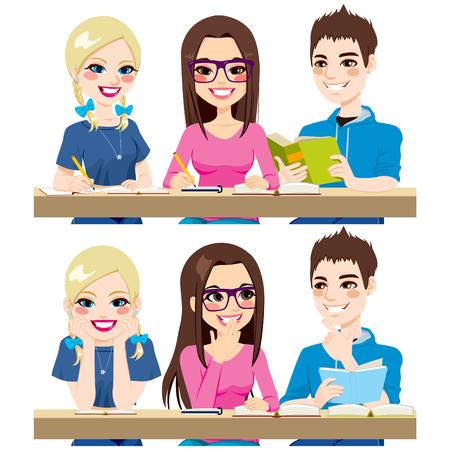 mujeres juntas: Los estudiantes que estudian juntos trabajan redacción de notas de lectura y hablando juntos