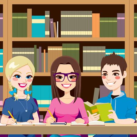 library: Los estudiantes que estudian en la biblioteca de escribir notas y leyendo juntos