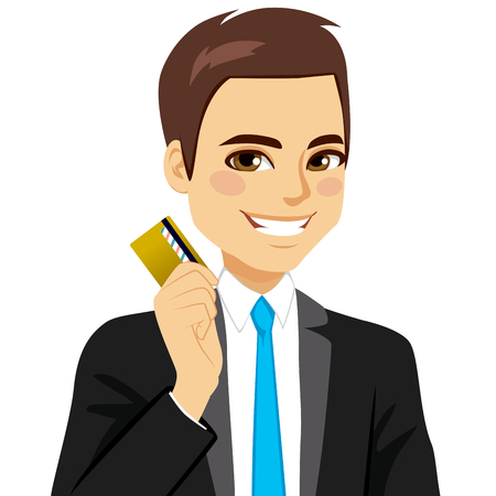 man holding card: Confident businessman holding golden credit card with right hand Illustration