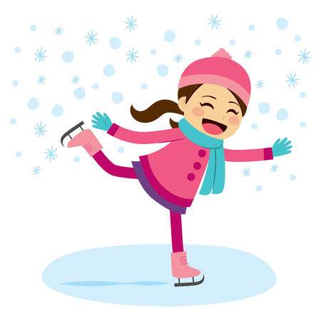 pink christmas: Cute little girl wearing warm winter clothes ice skating on frozen surface