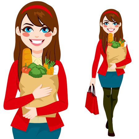 brunet: Beautiful brunette young woman carrying grocery paper shopping bag with healthy vegetables and food