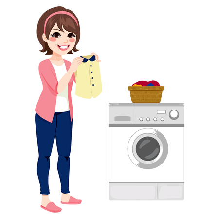 brunet: happy young woman doing laundry