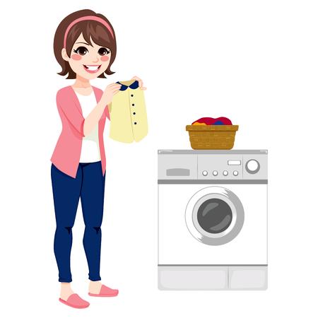 lavadora con ropa: Mujer joven feliz que hace el lavadero Vectores
