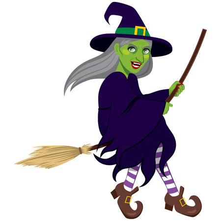flying hat: Ugly green evil witch flying on a broom isolated on white background