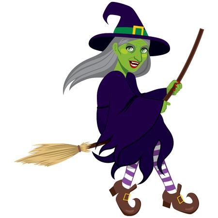 brujas caricatura: Verde feo malvada bruja volando en una escoba aislada sobre fondo blanco