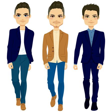 cuerpo hombre: Jóvenes hombres de moda atractivas caminando con el elegante estilo de la ropa