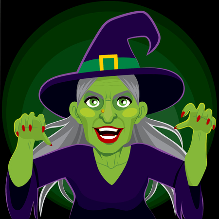 menacing: Old evil scary green skin witch with menacing arms up expression on dark background