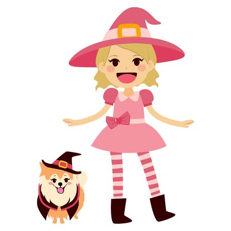 czarownica: Cute little girl na sobie różowy kostium Halloween czarownice i maskotka pies z kapelusz czarownicy i peleryna