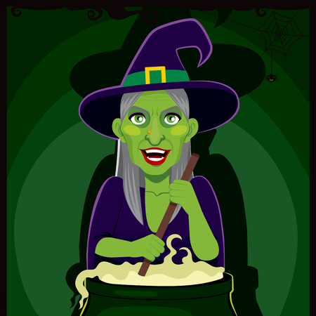 wicked witch: Old ugly spooky witch cooking potion brew on magic cauldron Illustration