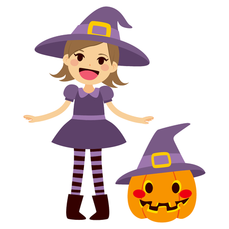 woman wearing hat: Cute little girl wearing purple witch Halloween costume and mascot pumpkin with witch hat
