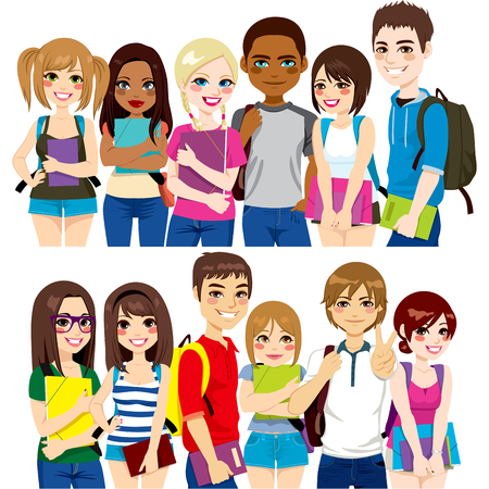 school books: Illustration of two different group of diverse ethnic students together