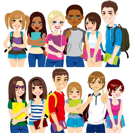estudiantes de secundaria: Ilustraci�n de dos grupos diferentes de estudiantes diversos �tnicos juntos