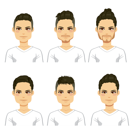 male face: Collection of different cool fashionable hipster hairstyle men heads Illustration