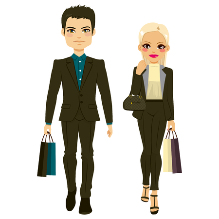 lifestyle: Young attractive fashion couple wearing black clothes shopping Illustration