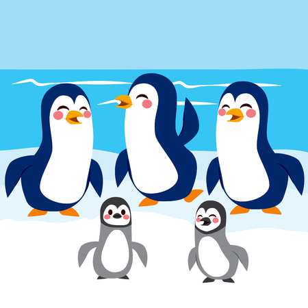 cartoon person: Funny baby and adult penguins happy together in Antarctic iceberg