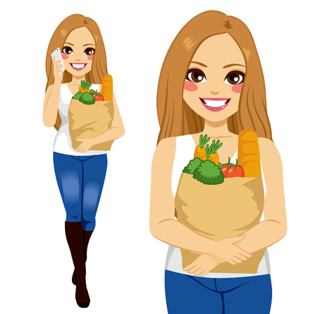 young woman smiling: Beautiful young woman with smartphone carrying grocery paper shopping bag Illustration