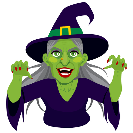 wicked woman: Old evil scary green skin witch with menacing expression showing claws isolated on white background Illustration