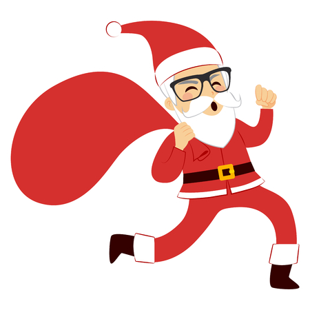 sacks: Funny cute Santa Claus running with red sack full of presents Illustration