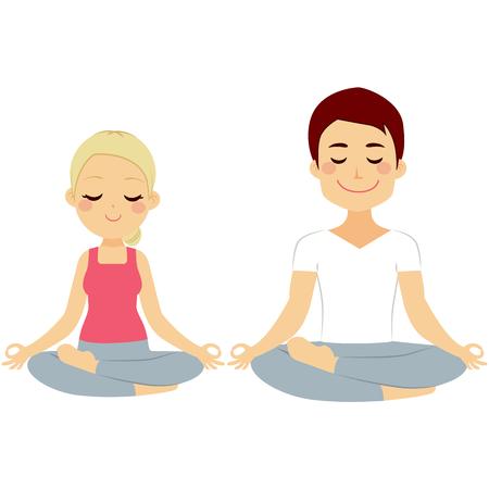 Mulher nova e homem casal fazendo pose dos lótus da ioga treinamento isolado no fundo branco Ilustração