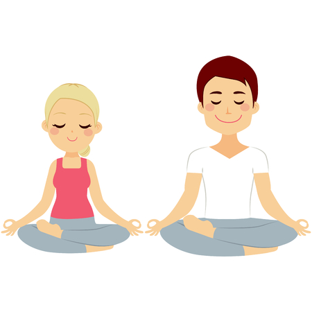 Young woman and man couple doing lotus pose yoga training isolated on white background