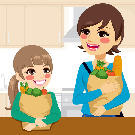 mom: Beautiful kid daughter helping happy mother carrying groceries paper bags in kitchen