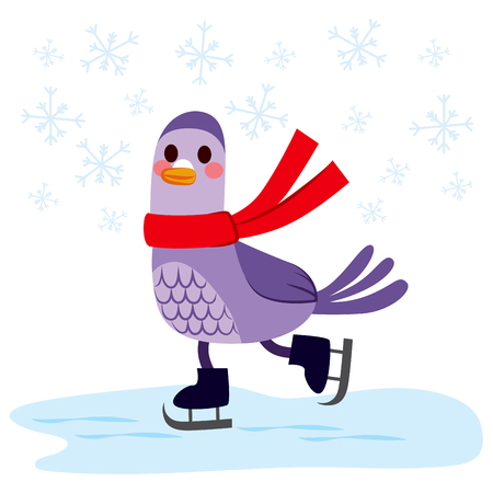 skating fun: Cute pigeon with red scarf skating on frozen ice
