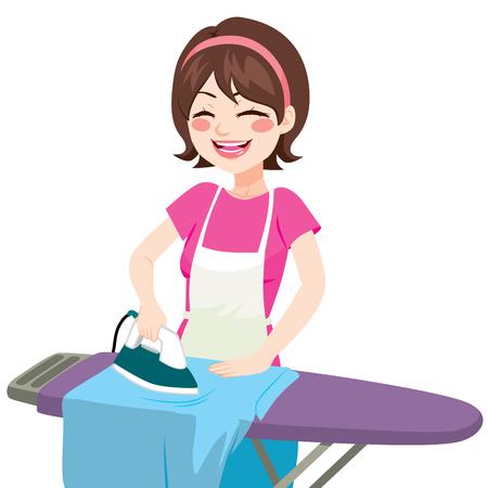 menina: Mulher feliz de sorriso bonita nova passar roupa em casa Ilustração