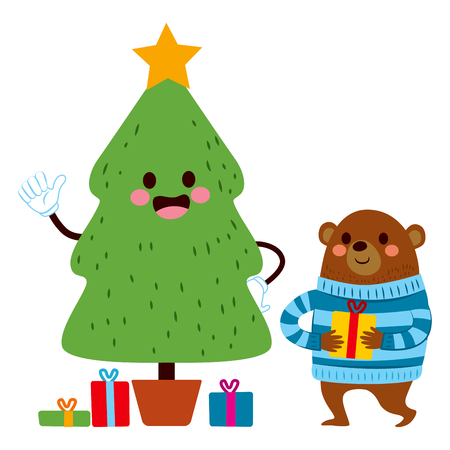 christmas cute: Cute bear holding gift next to christmas tree with presents Illustration