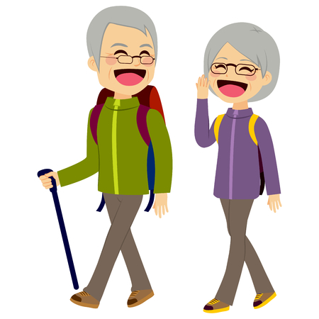 guy with walking stick: Lovely senior couple laughing and talking walking wearing climbing clothing and equipment Illustration