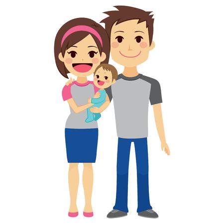 mom dad: Linda joven pareja feliz que celebra al bebé de pie sobre fondo blanco Vectores