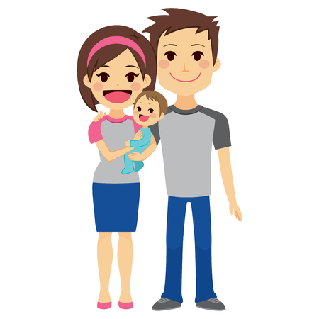 Cute happy young couple holding baby boy standing on white background