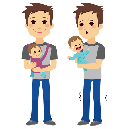 father and son: Father on two different actions holding baby with baby carrier and holding baby while is crying