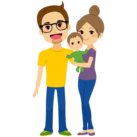 happy couple: Happy young couple holding baby standing on white background