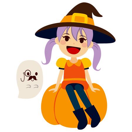 Schattig klein meisje draagt oranje heks Halloween kostuum en mascotte gentleman spook met monocle en snor