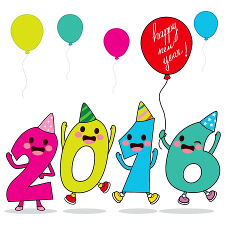 new year party: Year 2016 cartoon number characters celebrating happy new year party