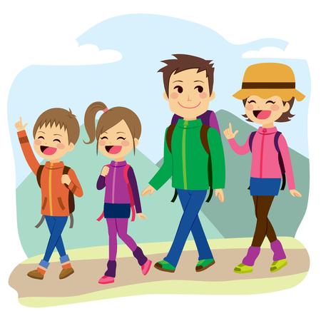 familia: Feliz de montaña escalada de la familia en un día de viaje de vacaciones