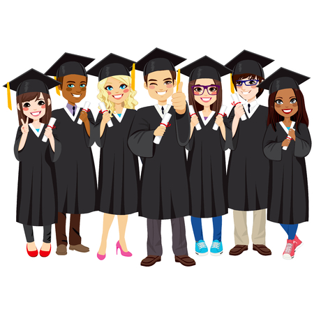 cartoon hat: Group of diverse and successful graduating students together with black gown on white background Illustration
